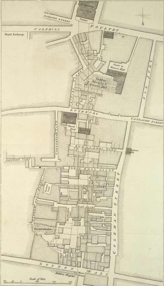 [Plan of proposed new street from the Mansion House to London Wall]